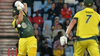 Aaron Finch top-scored for Australia in the third Twenty20 international against South Africa