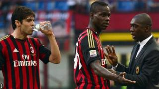 Mario Balotelli, Kaka and Clarence Seedorf for AC Milan