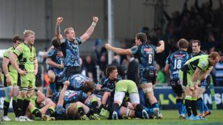 Exeter celebrate at the final whistle