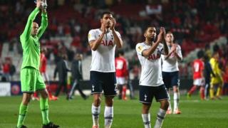 Tottenham players acknowledge their fans