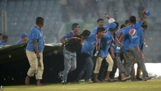 Groundstaff battle with the storm in Chittagong