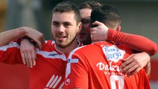 Portadown defender Chris Ramsey is congratulated after scoring the first goal in his side's 3-0 Premiership win over Warrenpoint