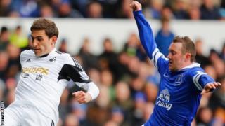 Angel Rangel is challenged by Aidan McGeady of Everton