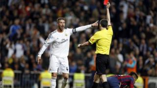 Sergio Ramos is sent off
