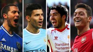 Eden Hazard, Sergio Aguero, Luis Suarez, Mesut Ozil