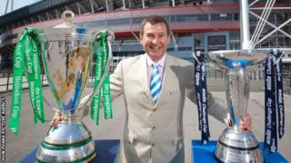 WRU Chief Executive Roger Lewis with the European and Amlin Challenge Cups