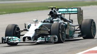 Mercedes driver Nico Rosberg was fastest in second practice in Malaysia