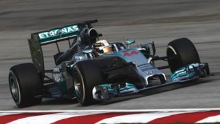 Lewis Hamilton on his way to winning the Malaysian Grand Prix