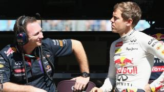 Christian Horner and Sebastian Vettel