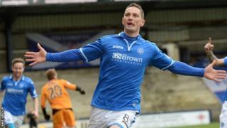 Gary MacDonald celebrates a goal for St Johnstone