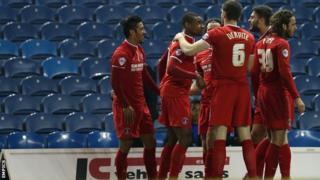 Charlton celebrate Reza Ghoochannejhad's goal