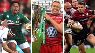 Leicester's Manu Tuilagi, Toulon's Jonny Wilkinson holding the Heineken Cup after their victory in last year's final, Saracens' Owen Farrell
