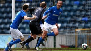 Glenavon's Ciaran Martyn celebrates scoring against Crusaders in the Irish Cup semi-final