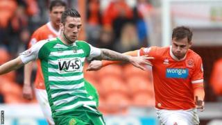 Blackpool against Yeovil at Bloomfield Road