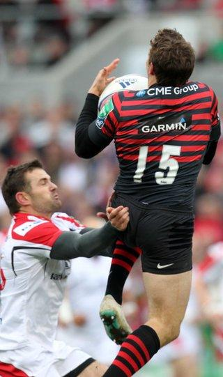 Ulster full-back Jared Payne was sent-off for this tackle on Alex Goode after just four minutes
