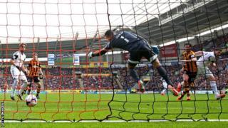 George Boyd scores Hull's goal against Swansea