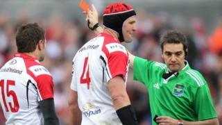 Ulster full-back Jared Payne is sent-off by referee Jerome Garces with Johann Muller looking on