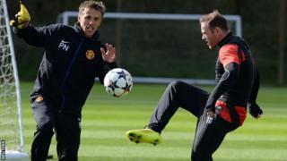 Wayne Rooney in Manchester United training