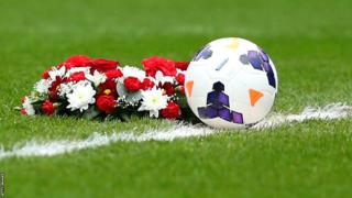 Floral wreath on centre spot of Stadium of Light ahead of Sunderland v Everton