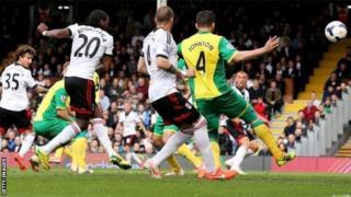 Hugo Rodallega opens the scoring for Fulham