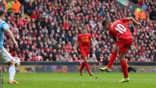 Philippe Coutinho scores Liverppol's winner against Manchester City