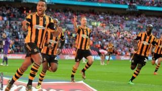 Tom Huddlestone celebrates Hull's third goal in their FA Cup semi-final win over Sheffield United