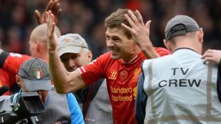 Steven Gerrard celebrates Liverpool v Manchester City
