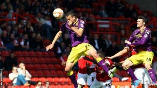 Haydn Hollis heads Notts County level against Bristol City