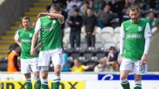 The Hibs players show their dejection during the defeat by St Mirren