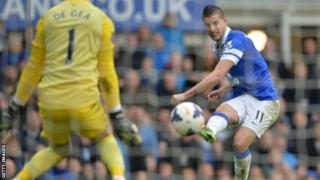 Kevin Mirallas (right) scores for Everton