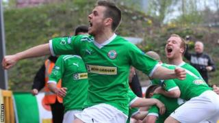 Chris Curran celebrates after scoring Cliftonville's opening goal