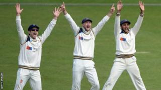 Yorkshire's slip cordon appeal for a catch against Northants