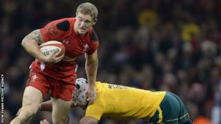 Cardiff Blues' Owen Williams in action for Wales