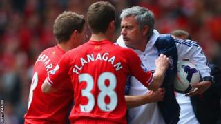 Chelsea manager Jose Mourinho at Anfield