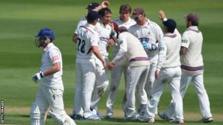 Somerset celebrate against Sussex