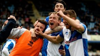 Bristol Rovers celebrate beating Wycombe