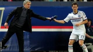 Chelsea manager Jose Mourinho (left) and midfielder Eden Hazard