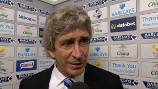 "Manager Manuel Pellegrini praises Manchester City's character after their ""very tough"" 3-2 win over Everton moves them top of the Premier League table."