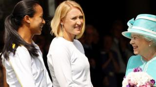 The Queen meets British tennis players Anne Keothavong (L) and Elena Baltacha