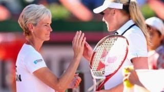Britain's captain Judy Murray congratulates Elena Baltacha of Great Britain after she won the second set in her match against Maria Irigoyen of Argentina during day two of the Fed Cup World Group Two Play-Offs between Argentina and Great Britain at Parque Roca on April 21, 2013 in Buenos Aires, Argentina