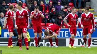 Dejected Aberdeen players after Motherwell's late winner