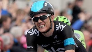 British rider Ben Swift grimaces after being pipped for Sunday's Giro stage win by Marcel Kittel in Dublin