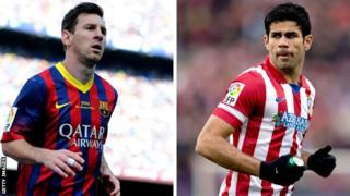Barcelona's Lionel Messi and Atletico's Diego Costa