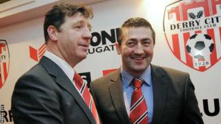 Peter Hutton (right) was Roddy Collins's assistant at the Brandywell