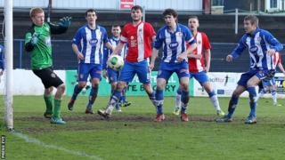 Coleraine and Linfield in action at the Showgrounds