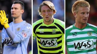Yeovil's Marek Stech, Luke Ayling and Byron Webster