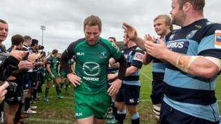 Gavin Duffy is applauded off the field after his last home appearance for Connacht earlier this month