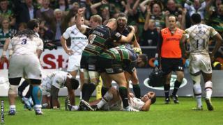 Northampton celebrate Tom Wood's late try