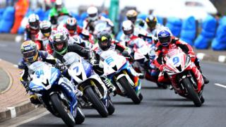 Racing started with the Supersport event and Alastair Seeley moves into an early lead