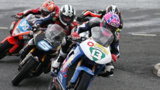 Lee Johnston leads the riders at York Corner and the Fermanagh man went on to secure his second Supertwins success at the meeting